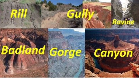 arid landforms -rill-gully-ravine-gorge-canyon-badland