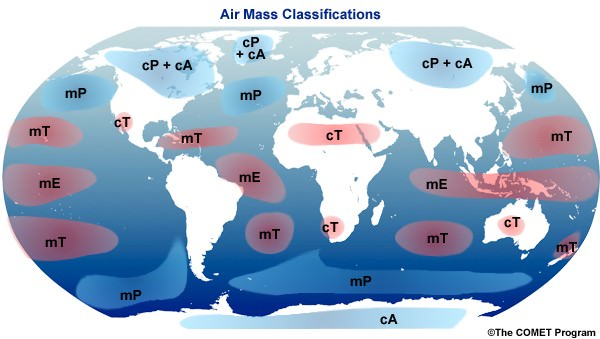 Air masses -Source Regions