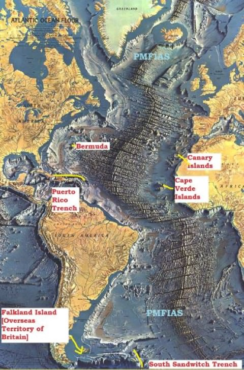 Atlantic Ocean relief-trenches