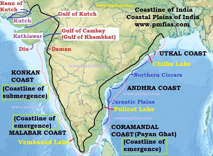 Coastline of india coastal plains of india pmf ias coastline of india indian coastline publicscrutiny Image collections