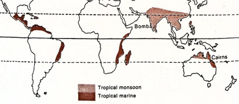 Distribution of Tropical Monsoon Climate