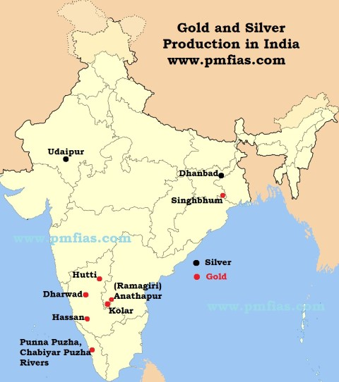 Gold Mines In World Map.Gold Silver Distribution Across India World Pmf Ias