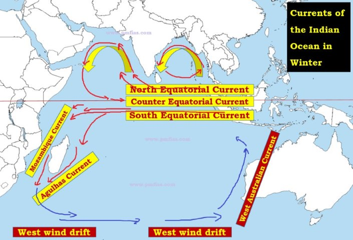 Indian Ocean Currents Map Indian Ocean Currents | Effect of Monsoons on North Indian Ocean  Indian Ocean Currents Map