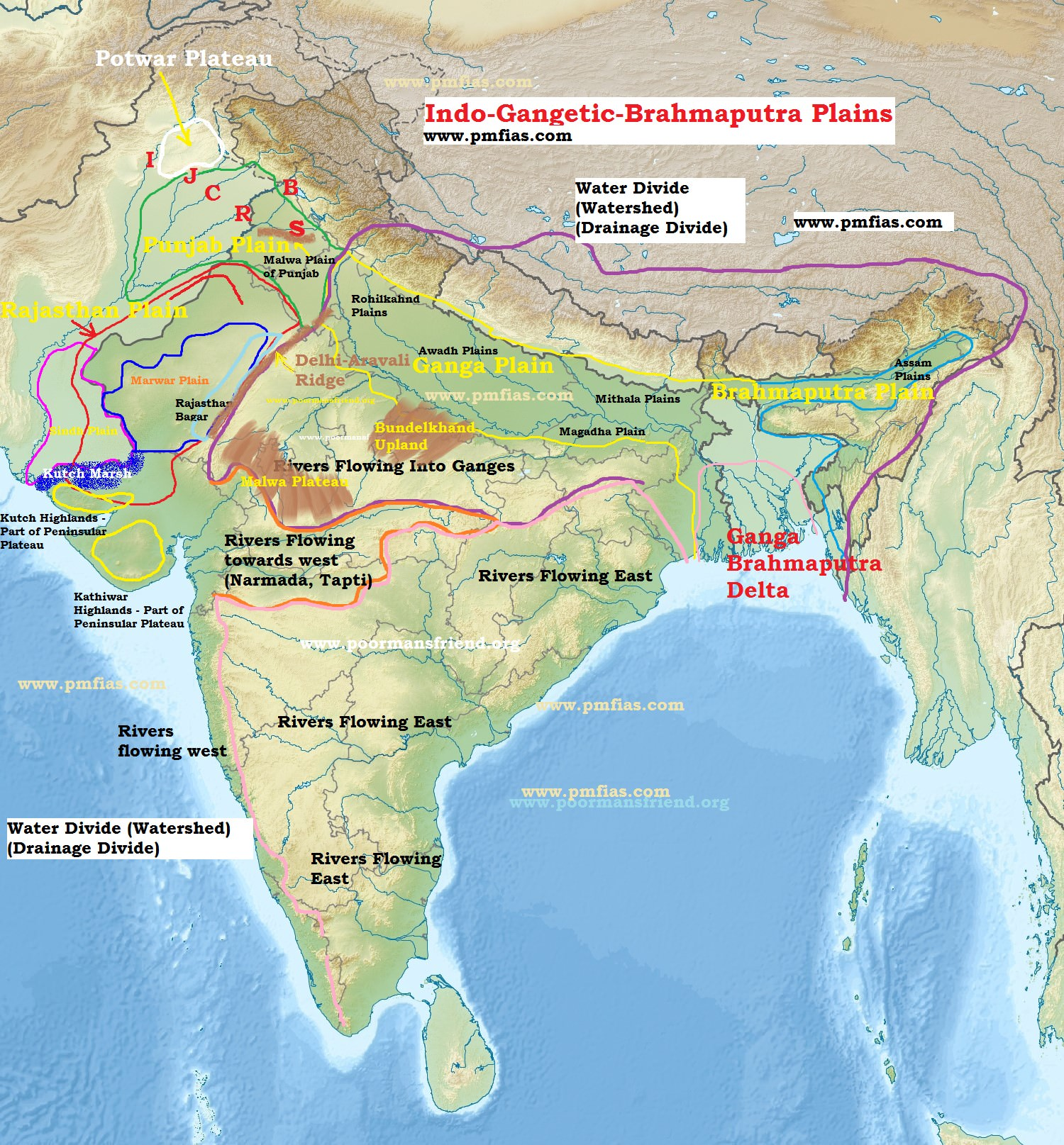 Divisions of Indo-Gangetic-Brahmaputra Plains | PMF IAS Indo Gangetic Plain Map