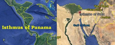 Isthmus of Panama and Isthmus of Suez
