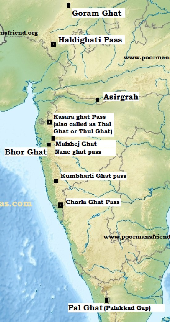 Major Passes in India - Western Ghats