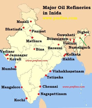 Oil Refineries in India Map
