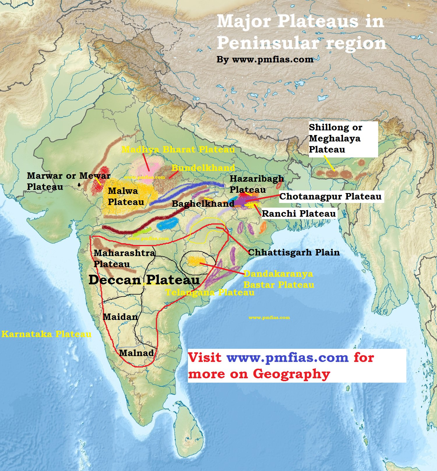 Peninsular Plateau - Plateaus in India