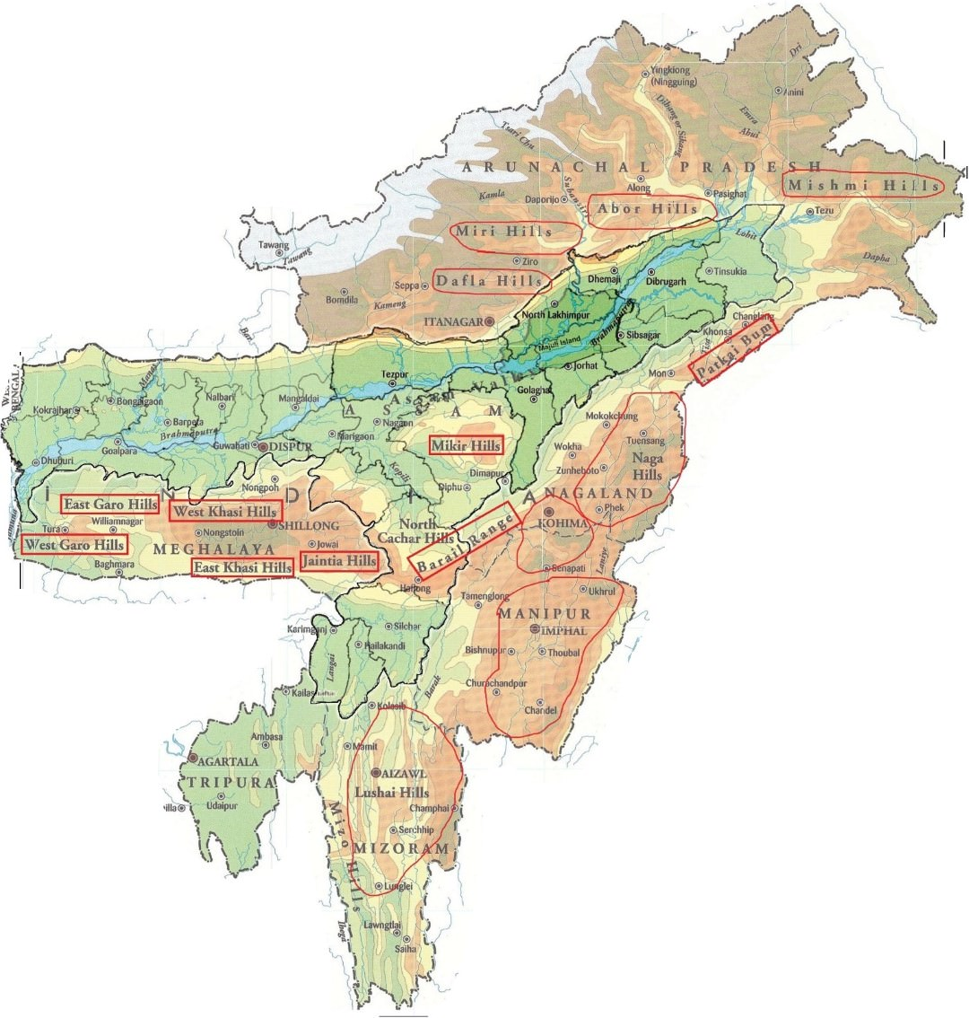 three parallel ranges of himalayas