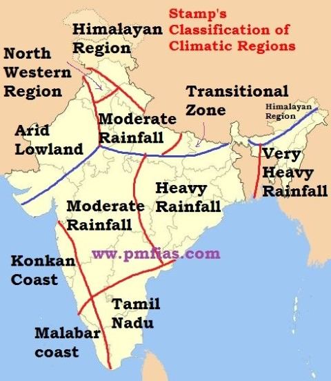 Stamp's Classification of Climatic Regions of India