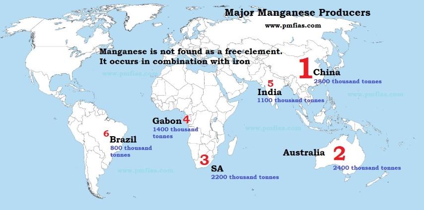 World Manganese Ore Distribution