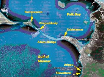 adams bridge - ram setu - islands