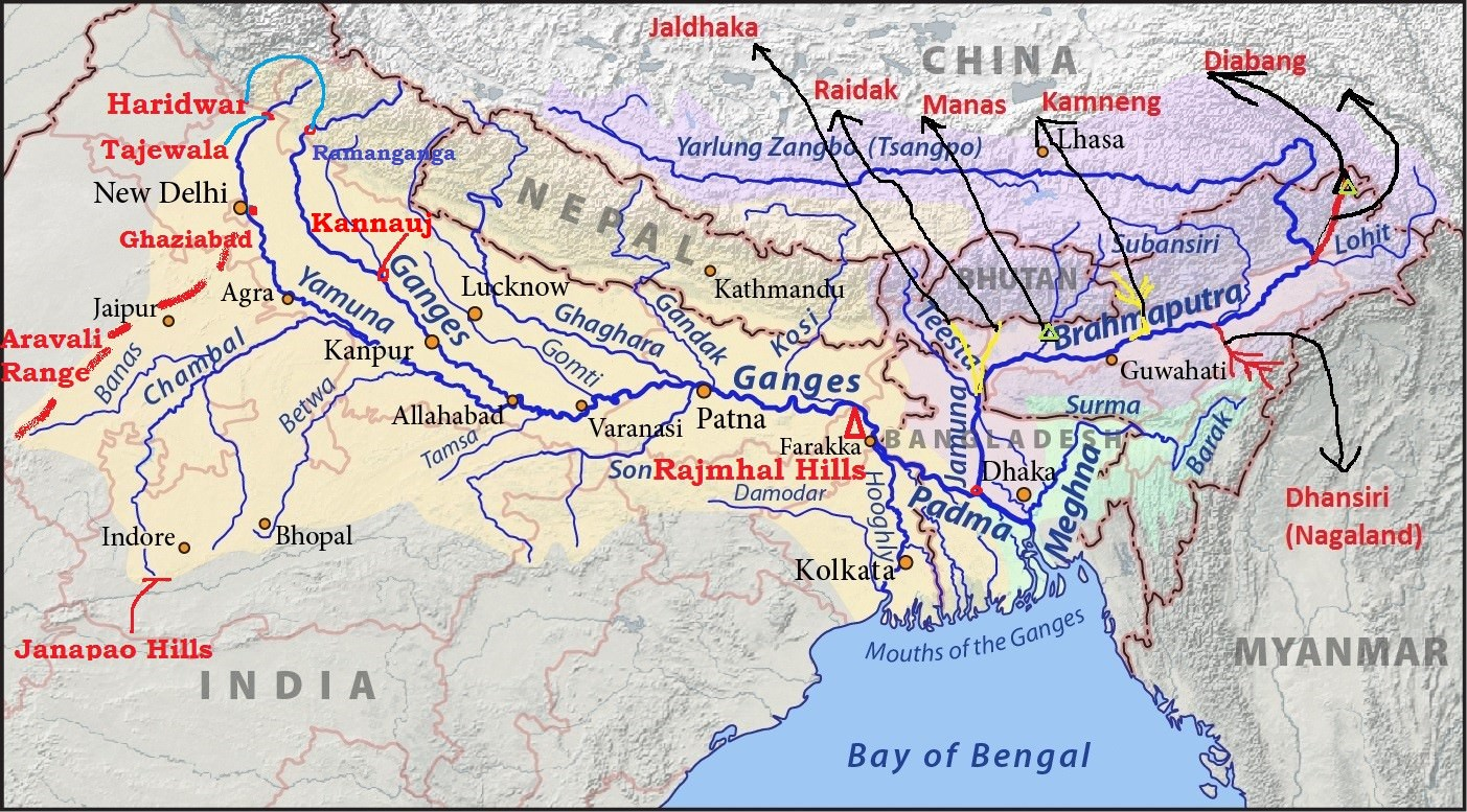 ganga-brahmaputra river system: major tributaries of the ganga