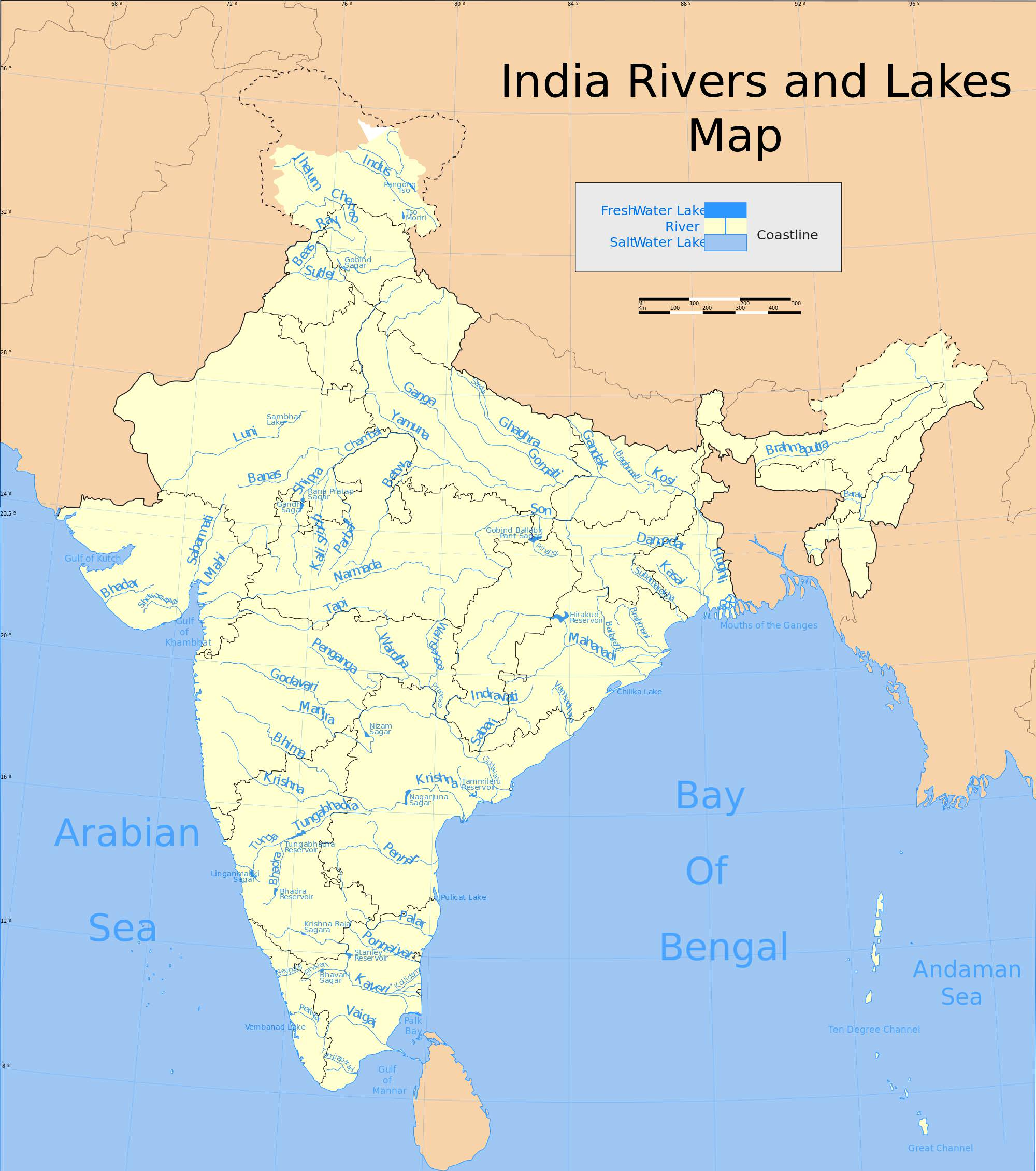 indian rivers and lakes