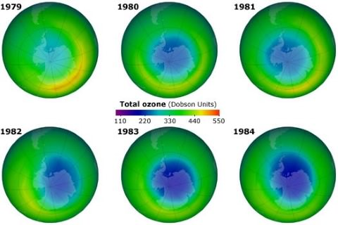 ozone hole at south pole 1980s-2000s