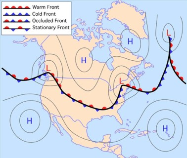 path of temperate cyclone