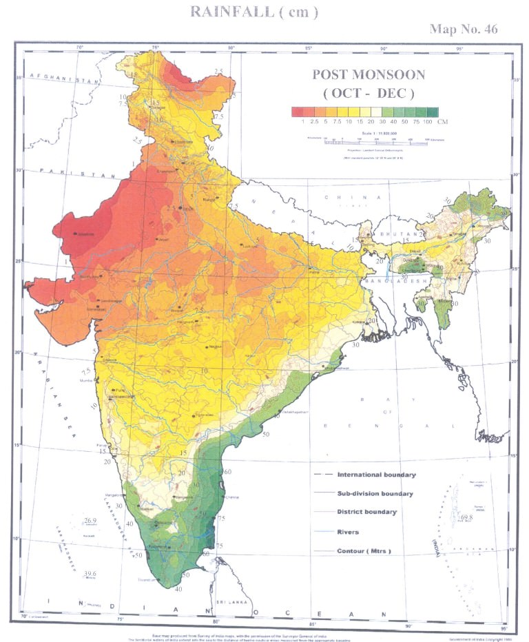 rainfall india post monsoon - october - december