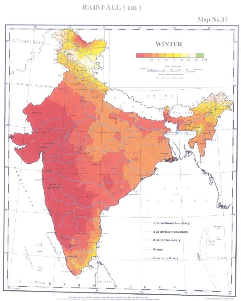 rainfall india winter