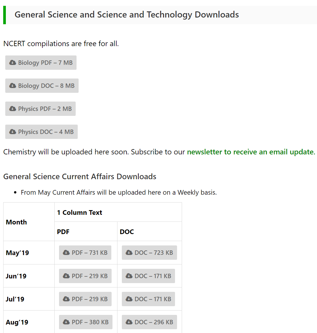 Science Downloads Page Screenshot