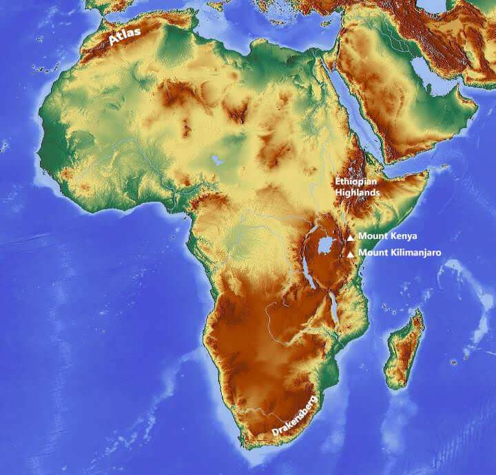 map of mountain ranges in africa Major Mountain Ranges Of The World Highest Mountain Peaks Pmf Ias map of mountain ranges in africa
